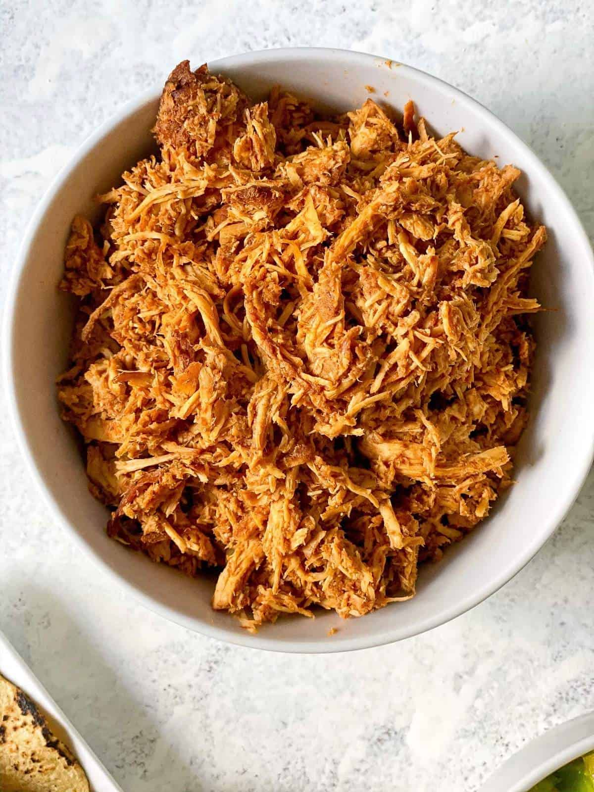 bowl of pulled bbq chicken
