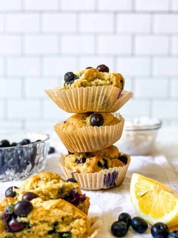 lemon blueberry muffins in paper liners