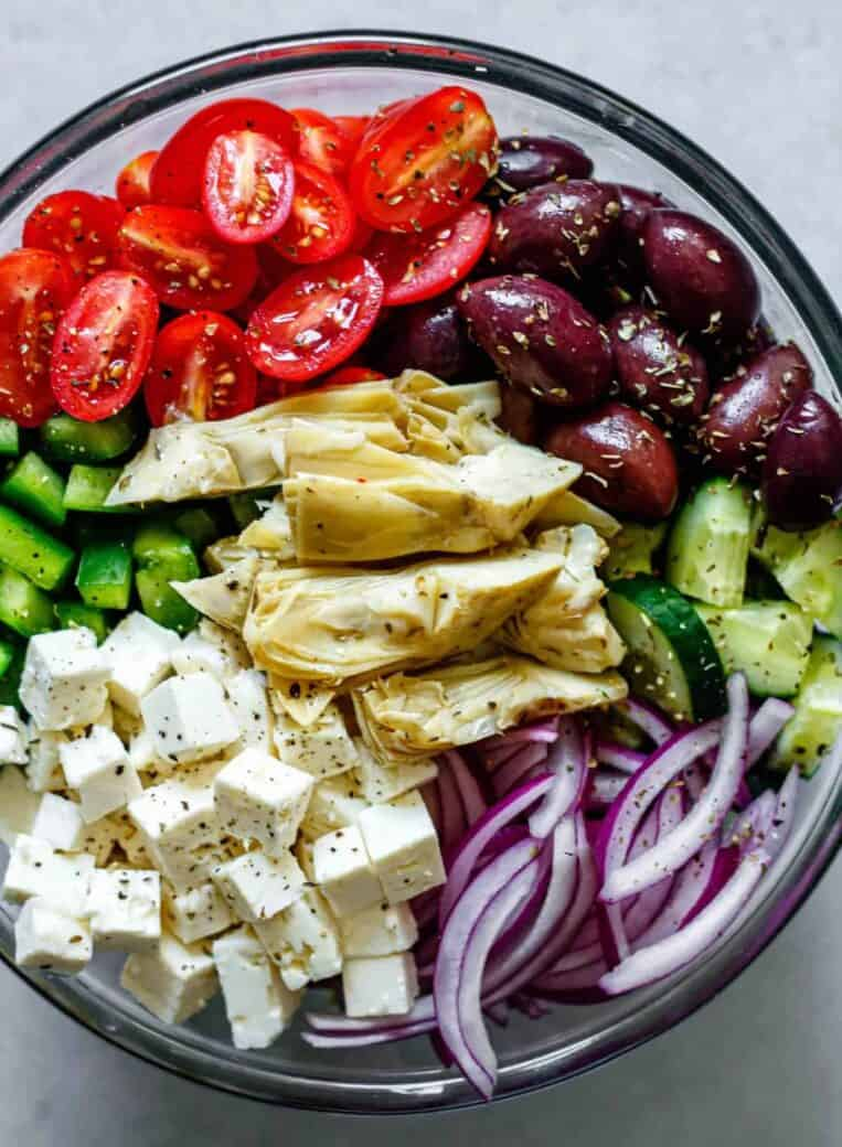 greek salad ingredients in a bowl