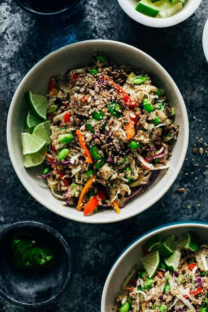 crunchy quinoa salad with bell peppers