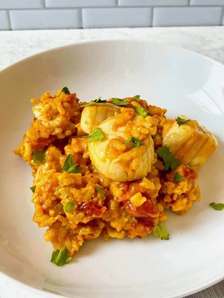 scallops over rice