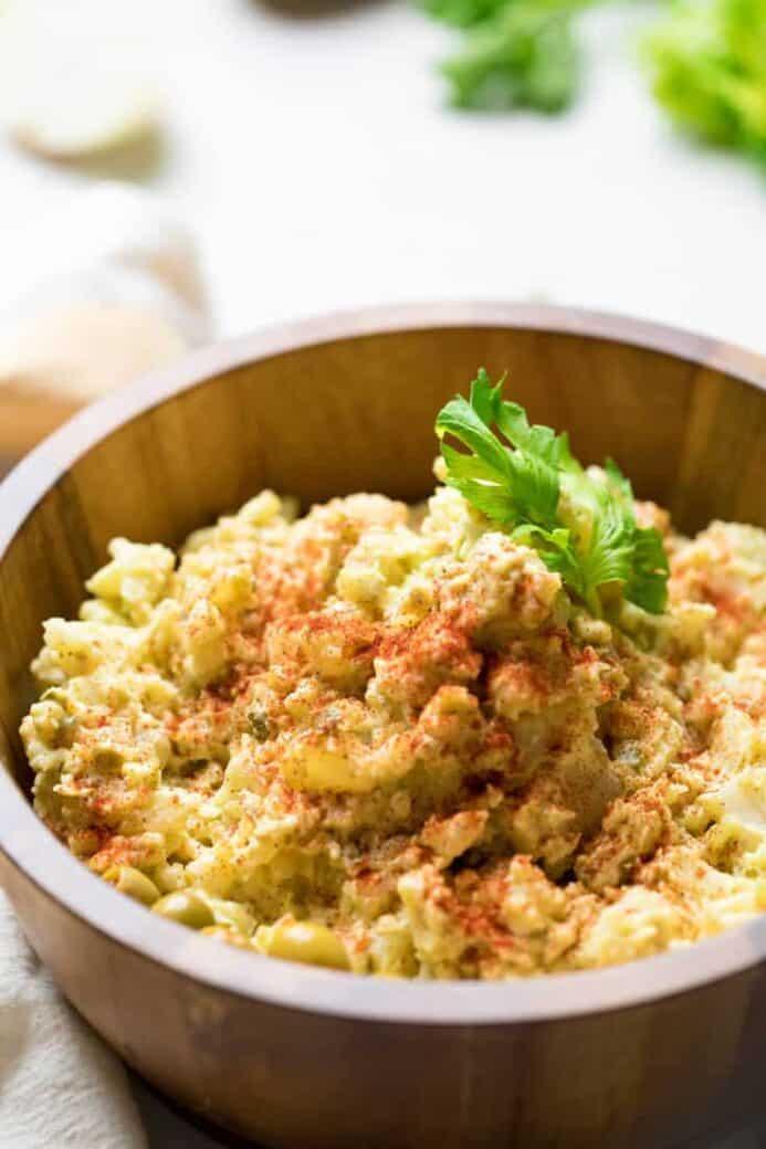 potato salad with paprika on top