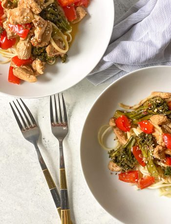 chicken and veggie stir fry over noodles