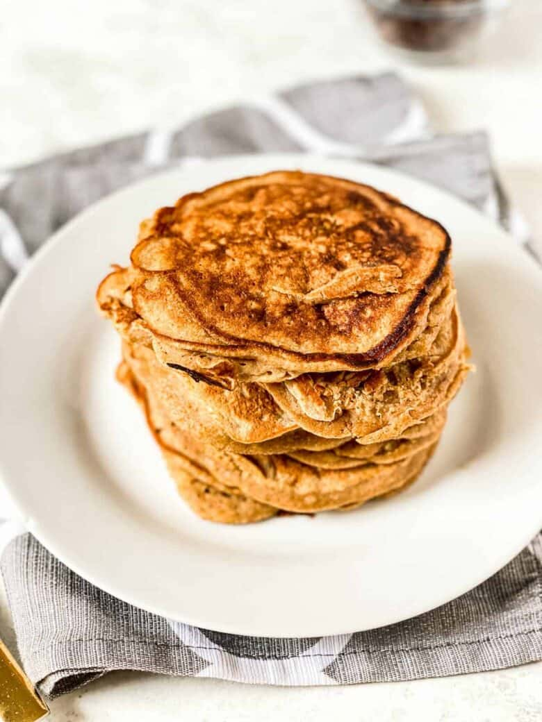 stack of whole wheat healthy banana pancakes