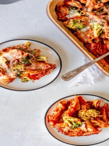 two plates of a pasta bake
