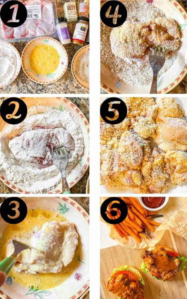 crispy buffalo chicken sandwiches process shots