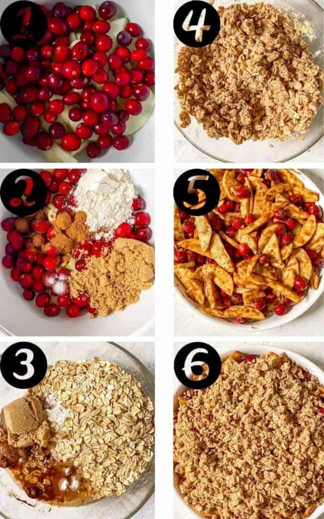 gluten-free apple cranberry crisp process shots