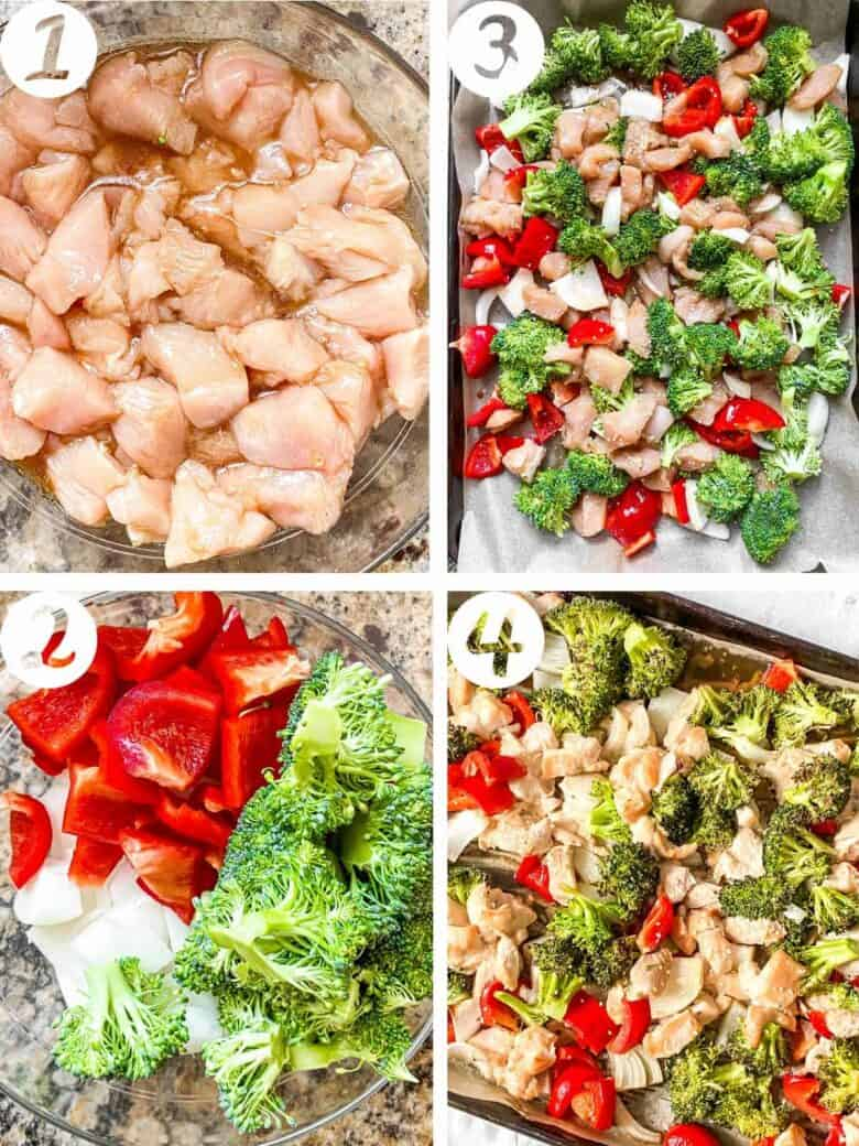 sheet pan sesame chicken and veggies process shots