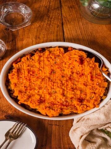 sweet potato shepherd's pie in a casserole dish