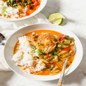 chicken thigh with vegetables in a coconut broth with white rice and a spoon