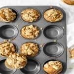 sweet potato muffins in muffin liners in a muffin tin