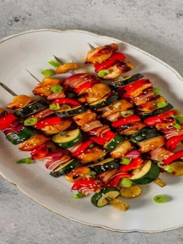 chicken teriyaki kabobs on a serving platter